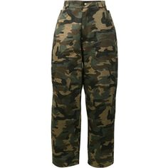 Hood By Air Camouflage Print Trousers ($180) ❤ liked on Polyvore featuring men's fashion, men's clothing, men's pants, men's casual pants, pants, bottoms, green, mens camo pants, mens cotton pants and mens green pants