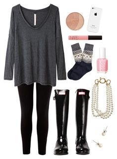 """""""It was icy today!"""" by preppysoph ❤ liked on Polyvore featuring Warehouse, Raquel Allegra, Maybelline, NARS Cosmetics, Essie, Hunter, Brooks Brothers, J.Crew and Fallon"""