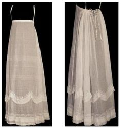 Early 19th century petticoat. Note the straps to hold the long skirt in place below the bust.