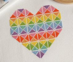 Geometric Heart Cross Stitch Kit Modern by theworldinstitches