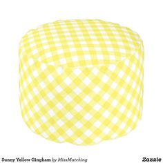 Sunny Yellow Gingham Pouf