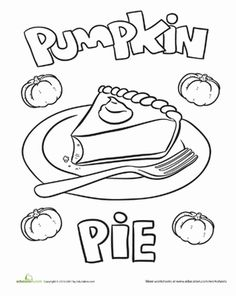 Thanksgiving Kindergarten Holiday Worksheets: Pumpkin Pie Coloring Page