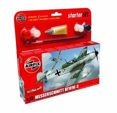 From 7.55 Airfix 1:72 Messerschmitt Bf109e Military Aircraft Category 1 Gift Set