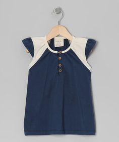 Look what I found on #zulily! Navy & Cream Organic Angel-Sleeve Top - Toddler & Girls #zulilyfinds