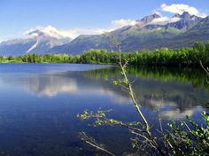 Reflection Lake near Wasilla, Alaska. Pioneer Peak is in the distance. A walking trail goes completely around this lake.