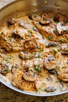 One Skillet Chicken with Garlicky Mushroom Cream Sauce - ready in 30 minutes and perfect over a bed of pasta! #oneskilletchicken #chickendinner #mushroomchicken | Littlespicejar.com