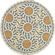 Hand-hooked Majestic Ivory/ Blue Wool Rug (4' Round) | Overstock.com Shopping - Great Deals on Safavieh Round/Oval/Square