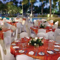 Poolside wedding reception at Hilton Aruba Caribbean Resort! #destinationwedding