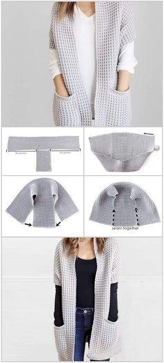Crochet Waffle Stitch, Gilet Crochet, Crochet Cardigan, Crochet Shawl, Knit Crochet, Shrug Sweater, Loom Knitting, Knitting Stitches, Crochet Fashion