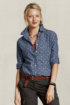 Lands' End Canvas chambray shirt with polka dots $40 - I very certainly would not pop the collar. Ick.