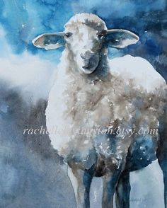 animal print watercolor painting / sheep by rachellelevingston, $25.00: