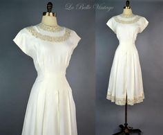Vintage 40s Ivory Crepe Swing Dress Embroidered Ecru Lace Trim