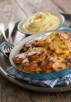 Sinappi maustaa niin uunilenkin kuin muusin. Stew, Sausage, French Toast, Good Food, Curry, Food And Drink, Tasty, Dishes, Meat