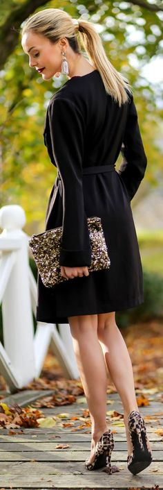 Gold Sequin Pouch tucked in sweater