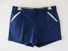 Vintage 80s Navy Blue Shorts Men's Tennis Shorts Navy Beach Shorts With Pockets Golf Shorts Athletic Clothing Sports Wear Size Large Shorts by YourEclecticStreet on Etsy