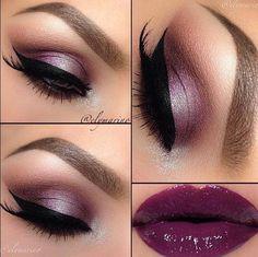 Purple eyeshadow and lipstick combo