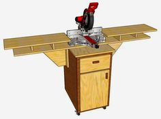Miter Saw Mobile Fold Down Station. Blog: simplyeasydiy.com   Video on Youtube & Cut Lists and Instructions