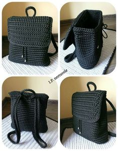 Crochet Backpack Pattern Inspiration / Crochet Bag from T-Sh .-Häkeln Sie Rucksackmuster Inspiration / Häkeltasche aus T-Shir-Garn – Salvabrani – Diy and Crafts Crochet Backpack Pattern Inspiration / Crochet Bag made of T-Shir Yarn – Salvabrani - Crochets En Crochet, Bag Crochet, Crochet Market Bag, Crochet Shell Stitch, Crochet Handbags, Crochet Purses, Love Crochet, Crochet Crafts, Crochet Yarn