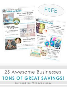 FREE GUIDE! 25 of the best photography related vendors and exclusive discounts!!