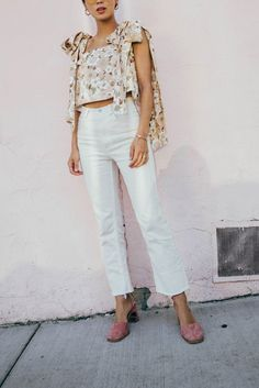 aimee song of style wearing rachel comey white jeans