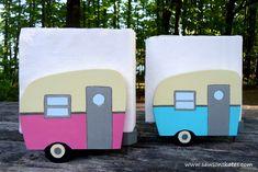 DIY Painted Wood Vintage Camper Napkin Holder