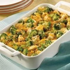 This saucy classic pairs cooked chicken or turkey with broccoli in a cheesy sauce, which stirs together easily. Bake until piping hot and serve with hot biscuits or noodles.