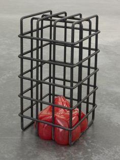 Mona Hatoum, Kapancik, 2012, 25 3/16 x 13 3/8 x 13 3/8 in. (64 x 34 x 34 cm). Metal and glass. Courtesy of White Cube.
