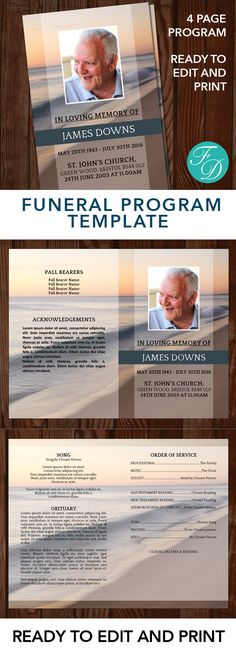 Beach Sunset Printable Funeral program ready to edit & print. Simply purchase your funeral templates, download, edit with Microsoft Word and print. #funeralprograms #funeraltemplate #funeralprogamtemplates #printableprogram #celebrationoflife #obituarytemplate #memorialprogram
