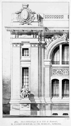 Detail of the facade of a projected museum and library, Beauvais