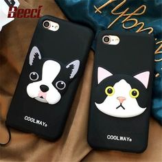 Beeci For Apple iphone 6 6s Plus Case,3D Bow Pet Bulldog Dog Rubber Silicone Phone Cases Coque for iPhone 7 7plus,Fashion Cover