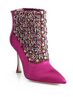 Manolo Blahnik - Bragima Embellished Satin Ankle Boots