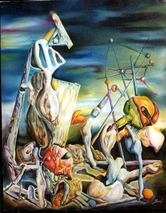Beal 'Aftermath' Oil (from Yves Tanguy - Slowly towards the North - 1941 Max Ernst, Yves Tanguy, Art Beauté, Rene Magritte, Surrealism Painting, Popular Artists, Fantastic Art, French Artists, Surreal Art