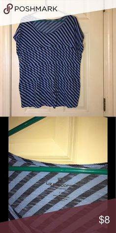 Liz Claiborne 1X Striped Top Blue striped top. Short sleeves.  Flat Tiered ruffles on front. Liz Claiborne. Size 1X.  Good condition. Important:   All items are freshly laundered as applicable prior to shipping (new items and shoes excluded).  Not all my items are from pet/smoke free homes.  Price is reduced to reflect this!   Thank you for looking! Liz Claiborne Tops Tees - Short Sleeve