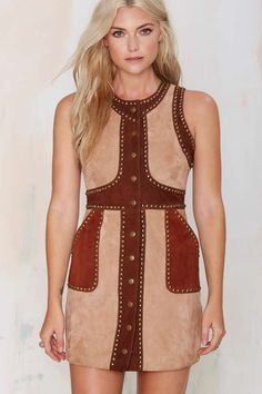 Nasty Gal Ladyland Suede Dress - Brown | Shop Clothes at Nasty Gal!