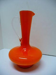 Large Mid Century Modern Italian Empoli Orange Cased Art Glass Ewer Pitcher Vase