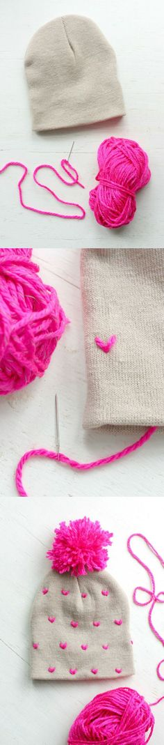 Take a plain hat to the next level with some neon yarn - if you can sew on a button, then you can make this heart-patterned pom pom beanie!