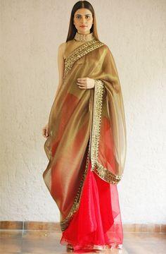 An organza sari by designer Kiran Uttam Ghosh. Bridelan - a personal wedding shopper & stylist. Website www.bridelan.com #Bridelan #sari