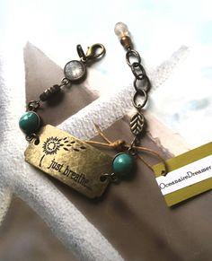 Just Breathe Inspirational Bracelet by OceanaireDreamer on Etsy