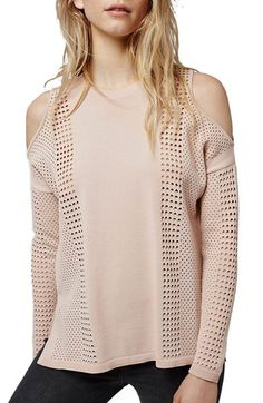 Topshop Cold Shoulder Pointelle Pullover available at #Nordstrom Size: 8 Color: Black