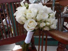 Stunning white bridal bouquet #bridalbouquet #weddingflowers #orangevilleflorist #roses #peony
