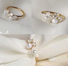 Flower Pearl Ring sooo beautiful, what I want! Pearl Ring, Pearl Earrings, Gold Ring, Diy Jewelry, Jewelry Box, Jewellery, Napkin Folding, Deco Table, Decoration Table