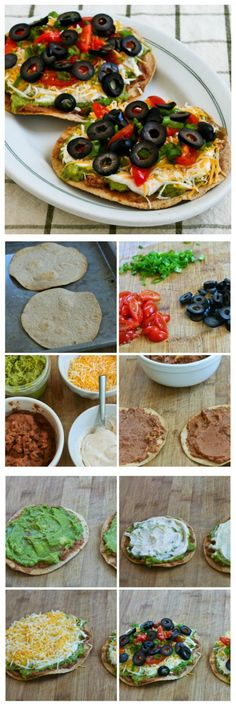 There must be a lot of seven-layer dip fans because these Seven-Layer Tostadas have been a hit with everyone who's tried them. This would be perfect for Cinco de Mayo, or any time you want a quick and easy vegetarian meal. I use low-carb tortillas that Vegetarian Recipes Easy, Veggie Recipes, Mexican Food Recipes, Cooking Recipes, Healthy Recipes, Going Vegetarian, Vegetarian Dinners, Vegetarian Tacos, Vegetarian Dish