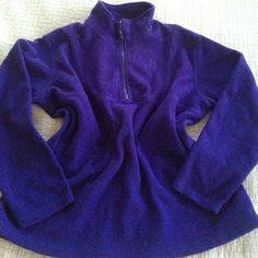 "ListingDeep Violet Fleece Jacket This gorgeous Deep Violet Fleece Jacket will keep you warm and toasty this Fall and Winter. Plenty of room to layer underneath. Features a short front zipper. Measures 26"" flat across under the arms; 28"" from shoulder to hem. Jackets & Coats"