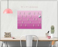 A beautiful way to display your cards and memos and decorate any room. This display board can be hanged in a dorm, kids room, teens room, office, kitchen, family space and more. Personalization option. 10 design options. Hand painted canvas with wooden clothespins. #giftforher #Bulletinboard #cardsdisplay #Purpleombre #ombre #Purpleroom #girlsroom #giftforgirl #teensroom #officeorganizer #memoholder #homeorganizer #personalizedgift #giftforteens #freeshipping #christmasgift #hannukahgift