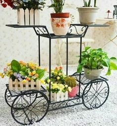 Dazone Metal Cart Flower Rack Display Garden Tree Home Decor Patio Plant Stand Holder Black ** More info could be found at the image url. House Plants Decor, Patio Plants, Plant Decor, Indoor Plants, Flower Cart, Flower Pots, Flowers, Metal Cart, Garden Cart