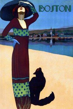"Fashion Lady Girl Beach with Black Cat Boston Travel Tourism 12"" X 16"" Image Size Vintage Poster Reproduction by Heritage Posters, http://www.amazon.com/dp/B008DF3KHO/ref=cm_sw_r_pi_dp_cYBQqb10CYSQ3"