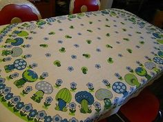 Vintage-Retro-Blue-and-Green-Mushroom-Tablecloth-1970s