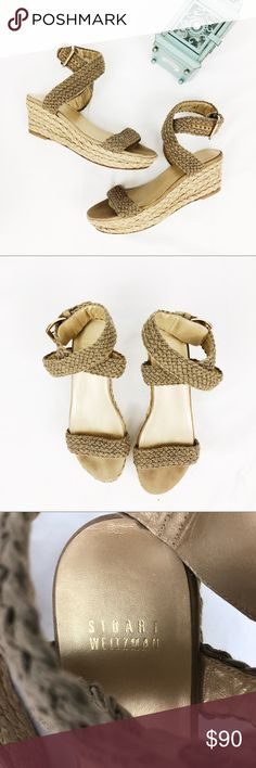 45f24e3f8f45 Stuart Weitzman Brown Crochet Wedge Sandals Size 9 These are the perfect  wedges to pair with