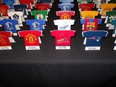 Jersey place cards - sports theme - baseball - football - bar mitzvah - Design by DB Creativity - laura@dbcreativity.com
