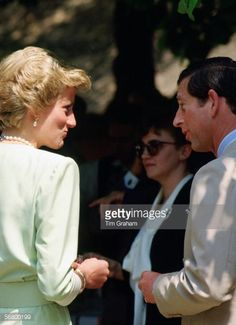 Princess Diana, Princess of Wales and Prince Charles, Prince of Wales talk together during an official visit to Budapest in Hungary.